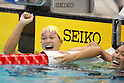 (L to R) Yayoi Matsumoto, Naoko Tsuge, September 4, 2011 - Swimming : Yayoi Matsumoto celebrates after wining during the Intercollegiate Swimming Championships, Women's 100m Free style final at Yokohama international pool, Kanagawa. Japan. (Photo by Yusuke Nakanishi/AFLO SPORT) [1090]