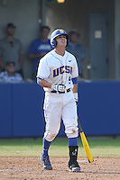 Woody Woodward (9) of the UC Santa Barbara Gauchos bats during a game against the Kentucky Wildcats at Caesar Uyesaka Stadium on March 20, 2015 in Santa Barbara, California. UC Santa Barbara defeated Kentucky, 10-3. (Larry Goren/Four Seam Images)