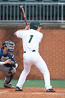 TJ Nichting (1) of the Charlotte 49ers at bat against the Akron Zips at Hayes Stadium on February 22, 2015 in Charlotte, North Carolina.  The Zips defeated the 49ers 5-4.  (Brian Westerholt/Four Seam Images)