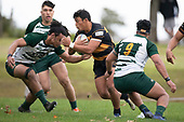 Liam Daniela attacks the gap between Penitoa Finau and Daivd Poasa-Osofua. Counties Manukau Club Rugby game between Manurewa and Bombay played at Mountfort Park Manurewa on Saturday June 2nd 2018. Bombay won the game 27 - 20 after leading 20 - 5 at halftime. <br /> Manurewa Kidd Contracting 20 - Caleb Fa'alili, William Raea, Willie Tuala, Viliami Taulani tries.<br /> Bombay 27 - Liam Daniela, Sepuloni Taufa, Talaga Alofipo tries, Ki Anufe 3 conversions, Ki Anufe 2 penalties.<br /> Photo by Richard Spranger.