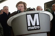 Greenbelt, MD - January 6, 2014:  U.S. Senator Barbara Milkulski speaks during a press conference at the Greenbelt metro station. Senator Milkulski and other officials announced the arrival of Metro's new 7000-series rail cars.   (Photo by Don Baxter/Media Images International)