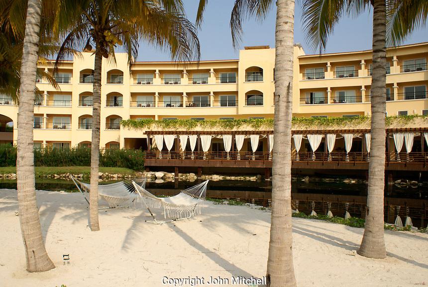 Hammocks at Hacienda Tres Rios, an eco-luxury resort on the Riviera Maya, Quintana Roo, Mexico.