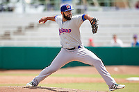 Midland RockHounds pitcher Kris Hall (43) delivers a pitch to the plate during the Texas League baseball game against the San Antonio Missions on June 28, 2015 at Nelson Wolff Stadium in San Antonio, Texas. The Missions defeated the RockHounds 7-2. (Andrew Woolley/Four Seam Images)