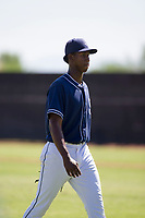 San Diego Padres pitcher Henry Henry (28) walks off the field between innings during an Instructional League game against the Texas Rangers on September 20, 2017 at Peoria Sports Complex in Peoria, Arizona. (Zachary Lucy/Four Seam Images)
