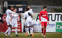 Celebrations after Keanan Bennetts of Spurs U19 scores a goal 1-1 during the UEFA Youth League round of 16 match between Tottenham Hotspur U19 and Monaco at Lamex Stadium, Stevenage, England on 21 February 2018. Photo by Andy Rowland.