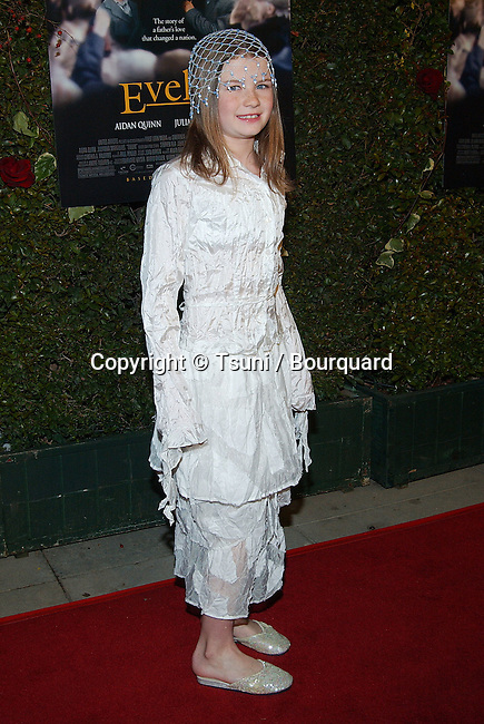 """Sophie Vavasseur posing  at the premiere of """"Evelyn"""" at the Academy of Motion Picture Arts and Science in Los Angeles. December 3, 2002."""