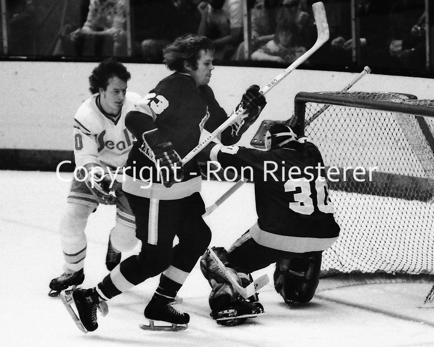 Seals vs LA Kings 1975, Kings Neil Komadoski and goalie Rogie Vachon, Seals       (photo/Ron Riesterer)