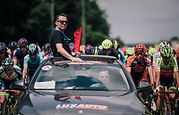 race organiser/director Nick Nuyens keeping the race neutralised until the real start outside the city limits<br /> <br /> 3rd Dwars Door Het hageland 2018 (BEL)<br /> 1 day race:  Aarschot > Diest: 198km