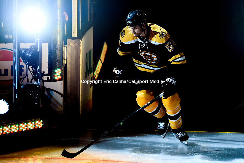Thursday, October 8, 2015: Boston Bruins defenseman Adam McQuaid (54) takes the ice for the season opening game between the Winnipeg Jets and the Boston Bruins held at TD Garden, in Boston, Massachusetts. Winnipeg defeated Boston 6-2 in regulation time. Eric Canha/CSM