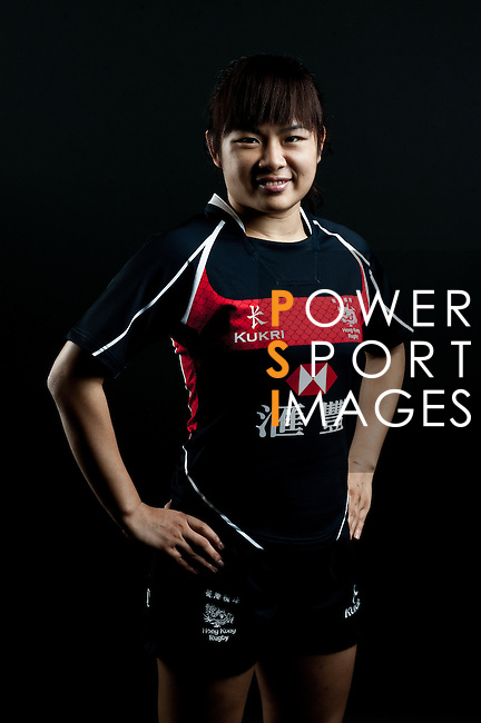 Candy Cheng Tsz Ting poses during the Hong Kong 7's Squads Portraits on 5 March 2012 at the King's Park Sport Ground in Hong Kong. Photo by Andy Jones / The Power of Sport Images for HKRFU