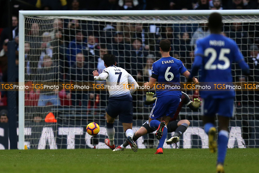 Son Heung-Min of Tottenham Hotspur scores the third goal during Tottenham Hotspur vs Leicester City, Premier League Football at Wembley Stadium on 10th February 2019