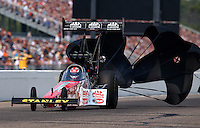 Aug. 18, 2013; Brainerd, MN, USA: NHRA top fuel dragster driver Doug Kalitta during the Lucas Oil Nationals at Brainerd International Raceway. Mandatory Credit: Mark J. Rebilas-