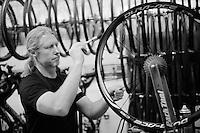 Team SKY mechanic Gary Blem putting glue on the wheels<br /> <br /> stage 21: Alcala de Henares - Madrid (98km)<br /> 2015 Vuelta à Espana