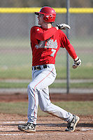 April 5, 2009:  Shortstop T.J. Baumet (7) of the Ball State Cardinals during a game at Amherst Audubon Field in Buffalo, NY.  Photo by:  Mike Janes/Four Seam Images