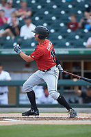 Kevin Kramer (17) of the Indianapolis Indians follows through on his swing against the Charlotte Knights at BB&T BallPark on May 26, 2018 in Charlotte, North Carolina. The Indians defeated the Knights 6-2.  (Brian Westerholt/Four Seam Images)