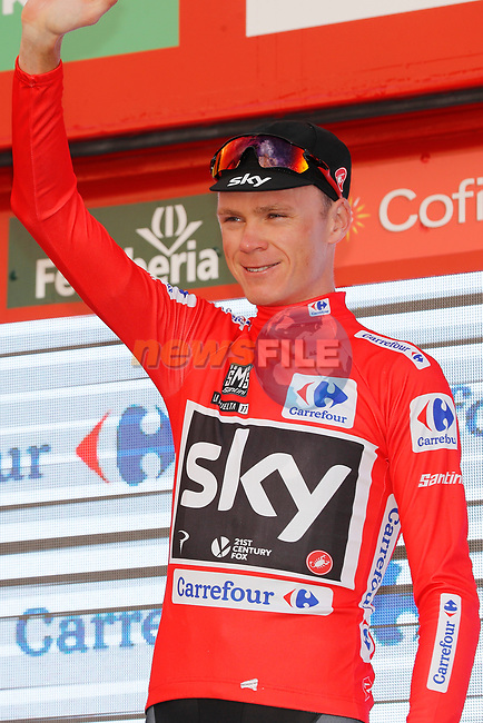 Race leader Christopher Froome (GBR) Team Sky retains the Red Jersey on the podium at the end of Stage 7 of the 2017 La Vuelta, running 207km from Ll&iacute;ria-Cuenca, Spain. 25th August 2017.<br /> Picture: Unipublic/&copy;photogomezsport | Cyclefile<br /> <br /> <br /> All photos usage must carry mandatory copyright credit (&copy; Cyclefile | Unipublic/&copy;photogomezsport)