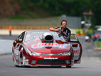 Jun 20, 2015; Bristol, TN, USA; NHRA pro stock driver Greg Anderson during qualifying for the Thunder Valley Nationals at Bristol Dragway. Mandatory Credit: Mark J. Rebilas-