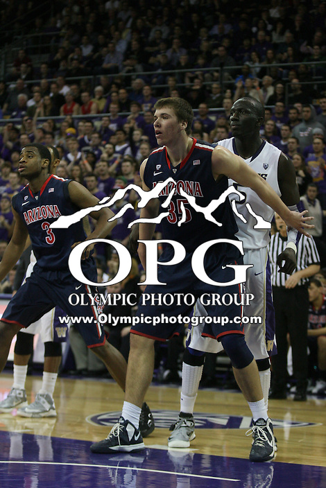 Jan 31, 2013:  Arizona's Kaleb Tarczewski against Washington.  Arizona defeated Washington 57-53 at Alaska Airlines Arena Seattle, Washington...