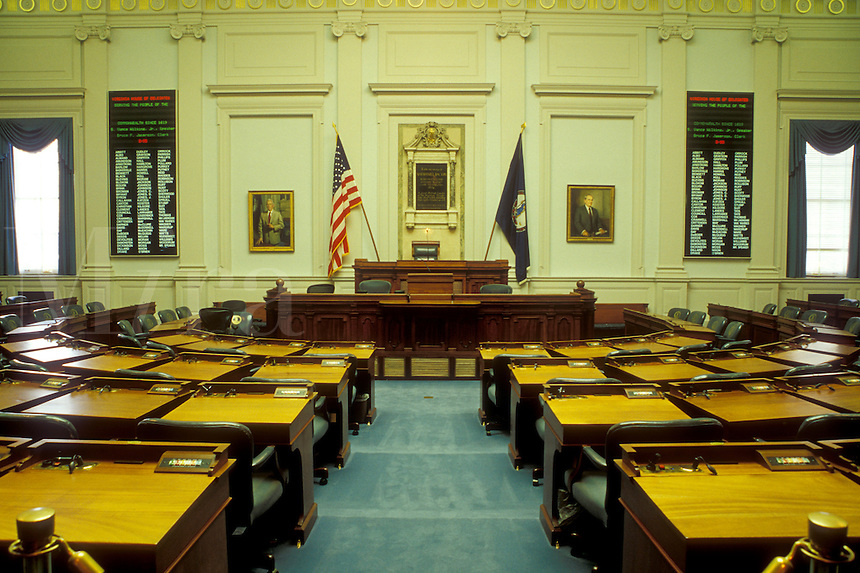 Richmond, VA, State Capitol, State House, Virginia, The House Chamber inside the Virginia State Capitol in the capital city of Richmond.