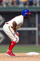 Philadelphia Phillies shortstop Jimmy Rollins #11 leads off of second base during the Major League Baseball game against the Pittsburgh Pirates on June 28, 2012 at Citizens Bank Park in Philadelphia, Pennsylvania. The Pirates defeated the Phillies 5-4. (Andrew Woolley/Four Seam Images).