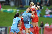 Boyds, MD - Saturday May 6, 2017: Taylor Lytle, Kelley O'Hara, Kassey Kallman during a regular season National Women's Soccer League (NWSL) match between the Washington Spirit and Sky Blue FC at Maureen Hendricks Field, Maryland SoccerPlex.