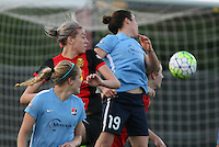 Piscataway, NJ, May 7, 2016. Nikki Stanton (7) and Kelley O'Hara (19) of Sky Blue FC battle Alanna Kennedy (8) of the Western New York Flash on a corner.  The Western New York Flash defeated Sky Blue FC, 2-1, in a National Women's Soccer League (NWSL) match at Yurcak Field.