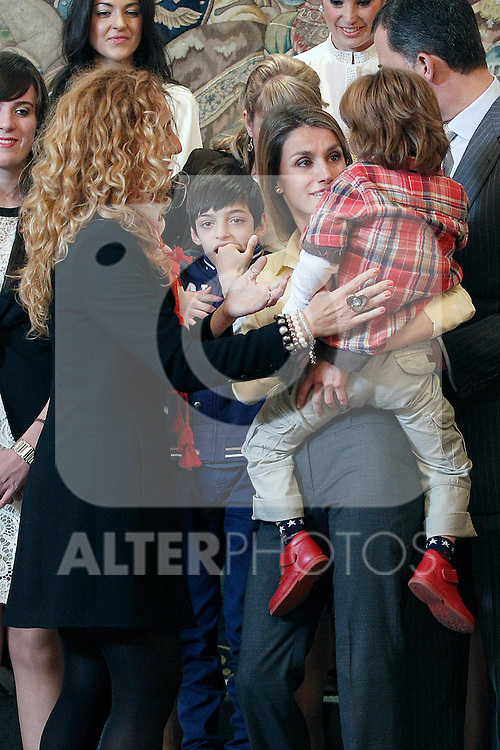 """Princess Letizia of Spain attends in audience a representation of the Public School for Special Education """"Pilar Soubrier"""".May 22 ,2012. (ALTERPHOTOS/Acero)"""