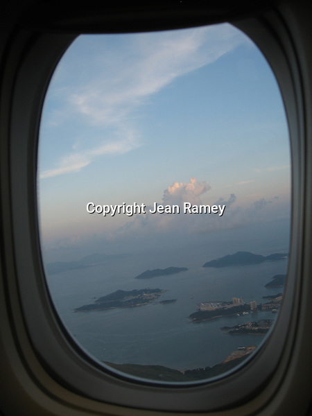 View of Hong Kong through plane