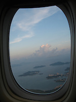 View of Hong Kong through plane