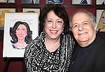 Alfred Uhry with Lynne Meadow, Manhattan Theatre Club's Artistic Director, receiving a Sardi's Caricature in.honor of her 40th anniversary with MTC on 10/24/2012