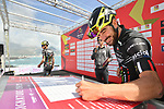 Riccardo Stacchiotti (ITA) Giotti Victoria at sign on before the start of Stage 4 of Il Giro di Sicilia 2019 running 119km from Giardini Naxos to Mount Etna (Nicolosi), Italy. 6th April 2019.<br /> Picture: LaPresse/Massimo Paolone | Cyclefile<br /> <br /> All photos usage must carry mandatory copyright credit (&copy; Cyclefile | LaPresse/Massimo Paolone)