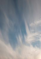 Cirrus clouds driven by high winds above southern England.