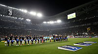 Football Soccer: UEFA Champions League Juventus vs Sporting Clube de Portugal, Allianz Stadium. Turin, Italy, October 18, 2017. <br /> Juventus and Sporting Lisbona teams line up prior to the start of of the Uefa Champions League football soccer match between Juventus and Sporting Clube de Portugal at Allianz Stadium in Turin, October 18, 2017.<br /> UPDATE IMAGES PRESS/Isabella Bonotto