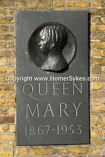 Plaque in memory of the life of Queen Mary 1867- 1953 on exteropr wall of Marlborough House, Malborough Road London SW1.