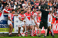 Picture by Alex Whitehead/SWpix.com - 12/05/2018 - Rugby League - Ladbrokes Challenge Cup - Castleford Tigers v St Helens - Mend-A-Hose Jungle, Castleford, England - St Helens' Ben Barba celebrates his try with team-mates.
