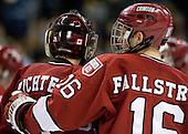 Kyle Richter (Harvard - 33), Alex Fallstrom (Harvard - 16) - The Boston College Eagles defeated the Harvard University Crimson 6-0 on Monday, February 1, 2010, in the first round of the 2010 Beanpot at the TD Garden in Boston, Massachusetts.