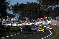 LE MANS, FRANCE: The #12  Porsche 956 105 driven by Volkert Merl, Dieter Schornstein and John Winter leads a group of cars during the 24 Hours of Le Mans on June 17, 1984, at the Circuit de la Sarthe in Le Mans, France.