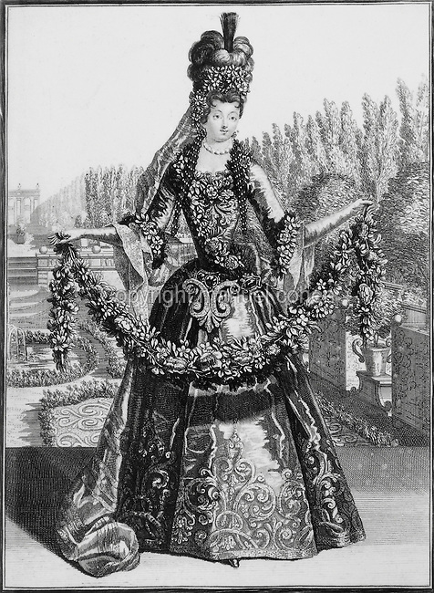 Opera dancer wearing costume of Flora, goddess of Spring, in the gardens of the Palace of Versailles, late 17th century engraving. Copyright © Collection ParticuliËre Tropmi / Manuel Cohen