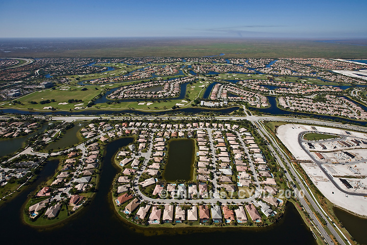 Coral Springs, Florida - Heron Bay Club - Everglades - Trails End Road, Nob Hill Road - helicopter aerial