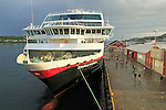 Hurtigruten ship 'Trollfjord' at port quayside of Rorvik, Norway