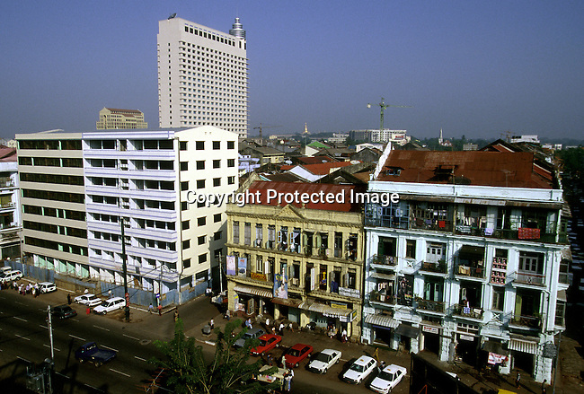 Residential buildings on December 27, 1996 in central Rangoon (Yangon) , Burma.  .They country is ruled by a military government who took power after they annuled democratic elections in 1988..(Photo: Per-Anders Pettersson/ Liaison Agency)