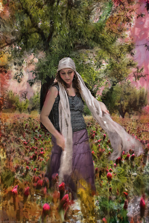 A young woman dressed in flowing clothes is seen in a filed of flowers under a spreading tree.