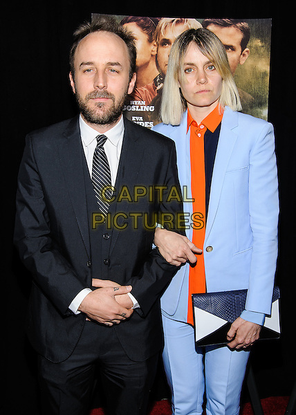 Derek Cianfrance & guest.'The Place Beyond The Pines' New York Premiere, New York, New York, USA..March 28th, 2013.half length black orange shirt clutch bag blue shirt tie suit beard facial hair .CAP/ADM/MSA.©Mario Santoro/AdMedia/Capital Pictures.