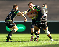 Leinster's Peter Dooley is tackled by Ospreys' Ma'afu Fia<br /> <br /> Photographer Simon King/CameraSport<br /> <br /> Guinness PRO12 Round 19 - Ospreys v Leinster Rugby - Saturday 8th April 2017 - Liberty Stadium - Swansea<br /> <br /> World Copyright &copy; 2017 CameraSport. All rights reserved. 43 Linden Ave. Countesthorpe. Leicester. England. LE8 5PG - Tel: +44 (0) 116 277 4147 - admin@camerasport.com - www.camerasport.com