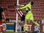 Sheffield United's Tyler Smith  clashes with Crewe's Scott Wardley during the FA Youth Cup First Round match at Bramall Lane Stadium, Sheffield. Picture date: November 1st 2016. Pic Richard Sellers/Sportimage