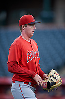 Starting pitcher Daniel Nunan (68), of the AZL Angels, walks off the field between innings of an Arizona League game against the AZL Padres 1 on August 5, 2019 at Tempe Diablo Stadium in Tempe, Arizona. AZL Padres 1 defeated the AZL Angels 5-0. (Zachary Lucy/Four Seam Images)
