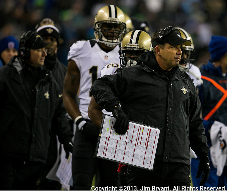 New Orleans Saints Saints head coach Sean Payton along the sidelines during the fourth quarter at CenturyLink Field in Seattle, Washington on December 2, 2013. The Seahawks became the first team to clinch a spot in the NFC playoffs with a 34-7 victory over the New Orleans Saints.    ©2013. Jim Bryant Photo. ALL RIGHTS RESERVED..
