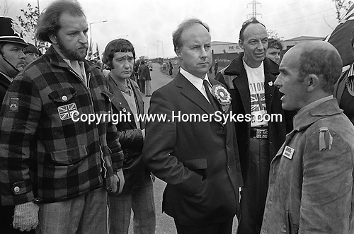John Tyndall National Front march  through Stechford, West Midland, UK. 1970s.