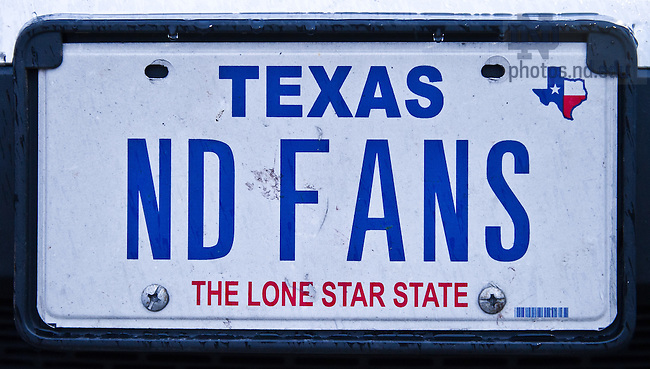 Nov. 1, 2013; Texas license plate &quot;ND Fans&quot;<br /> <br /> Photo by Matt Cashore/University of Notre Dame