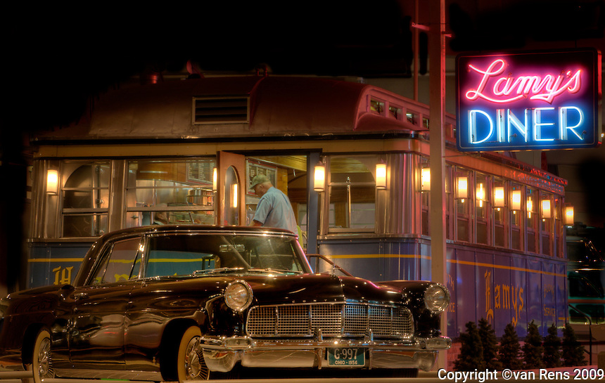 Classic car and classic diner symbols of the iconic past.